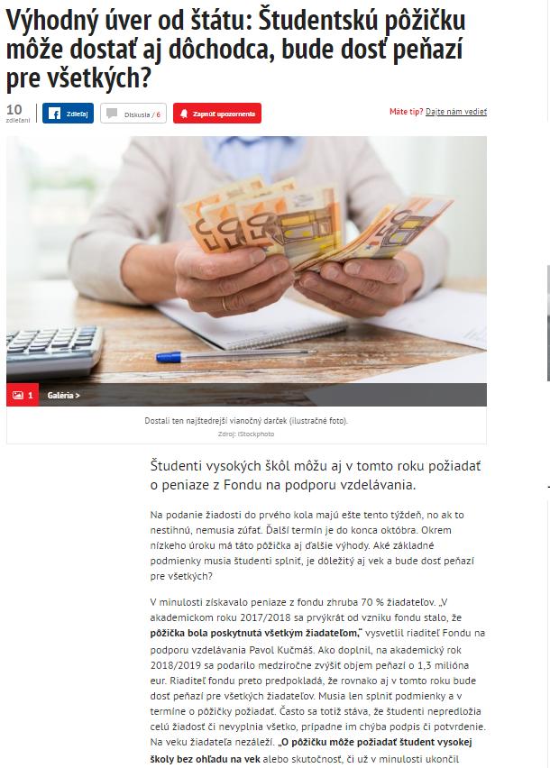 584dee05a 2018 spravodajský portál www.pravda.sk publikoval článok o možnosti  studentskej pôžičky z FNPV: